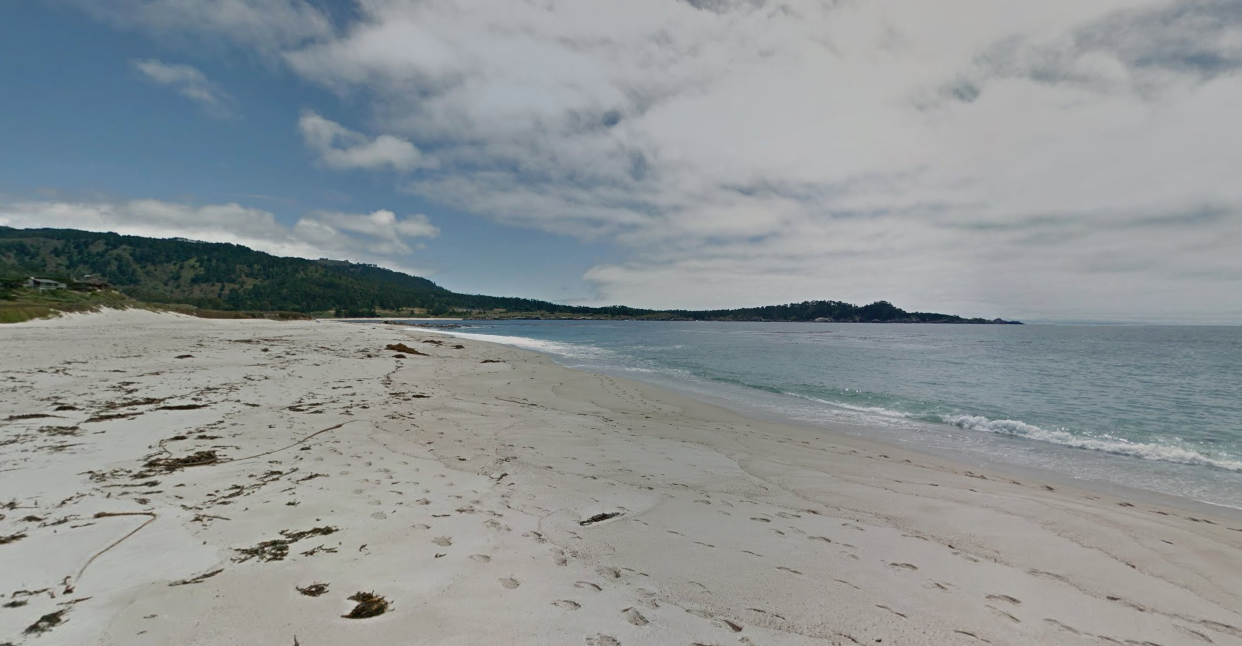 Carmel River State Beach is shown in a Street View image from Google Maps.