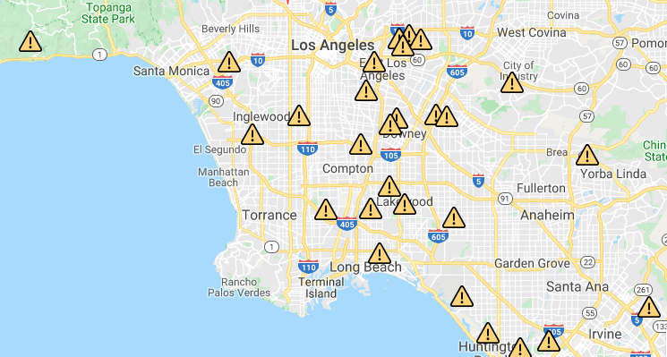 Power outage map taken on Dec. 26, 2019. (Credit: Southern California Edison)