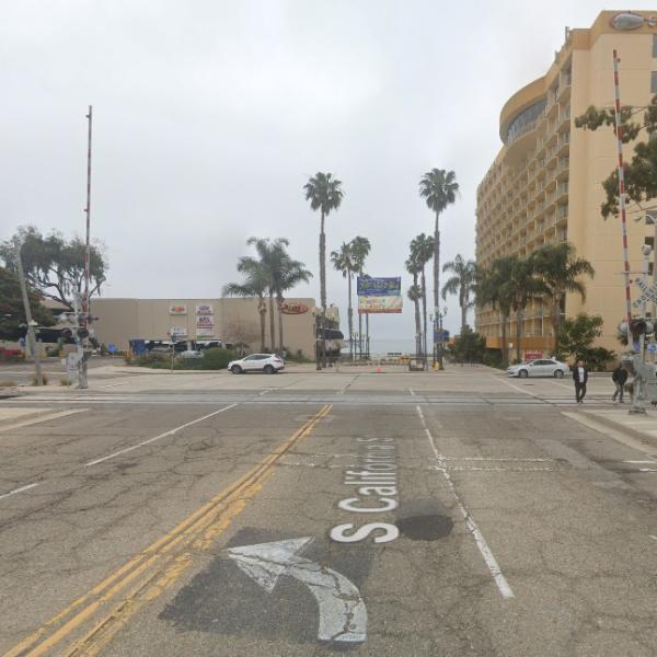 A Google Maps image shows a train track on California Street near Harbor Boulevard in Ventura.