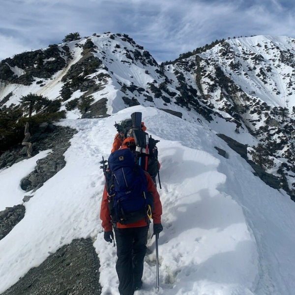 Rescuers search on Dec. 14, 2019, for a hiker from Irvine who went missing near Mount Baldy on Dec. 8, 2019. (Credit: San Bernardino County Sheriff's Department West Valley Search & Rescue Team)
