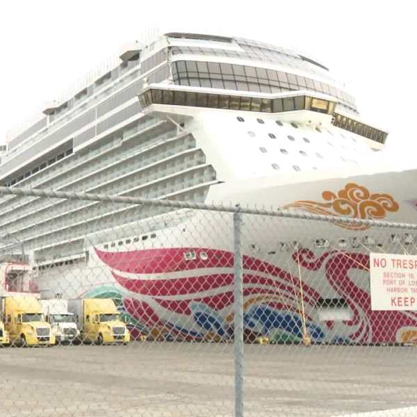 The Norwegian Joy is docked at the Port of Los Angeles on Dec. 1, 2019, when more than a dozen people aboard were reported ill. (Credit: KTLA)