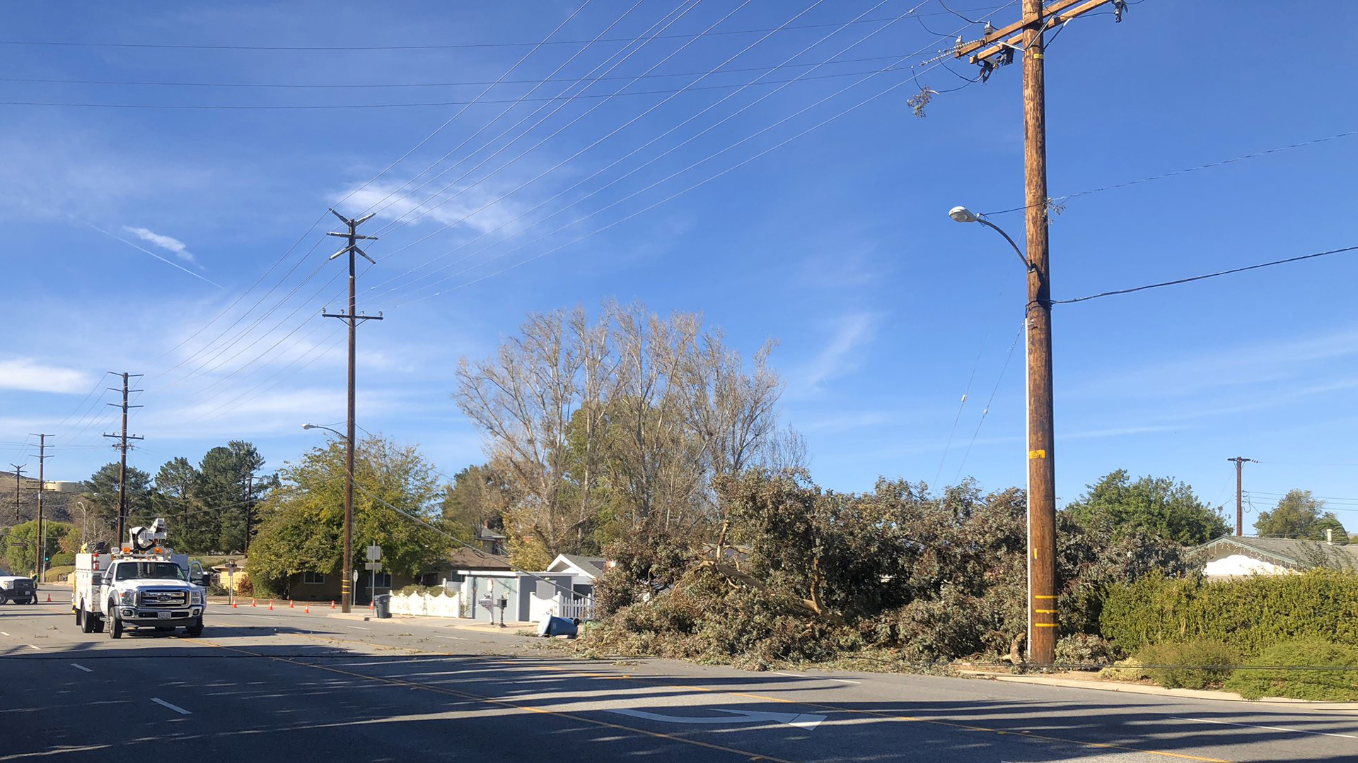 A photo released by the Ventura County Fire Department shows a tree on the ground as powerful winds whipped a Simi Valley neighborhood on Dec. 16, 2019.