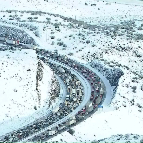 Traffic on the 14 Freeway is backed up following a crash along the roadway on Dec. 27, 2019. (Credit: KTLA)