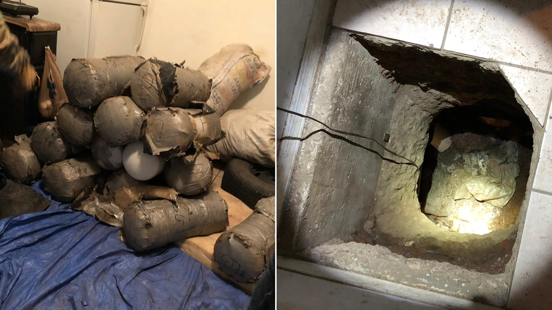 Narcotics and a cross-border tunnel discovered by special agents in Nogales, Arizona, are seen in images released Dec. 19, 2019, by U.S. Immigration and Customs Enforcement.