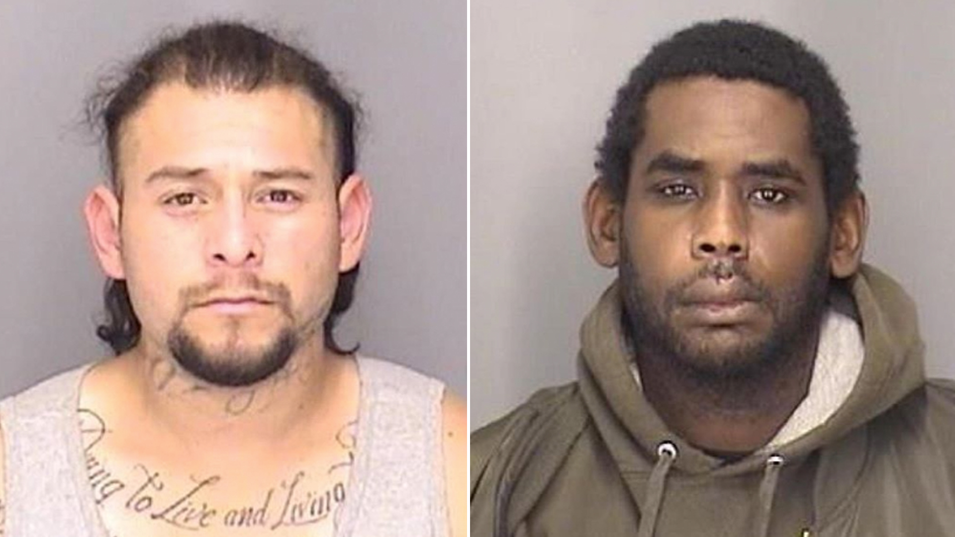 Javier Delgadillo-Munoz and Paul Glenn, both of Modesto,are seen in undated booking photos provided by the Merced County Sheriff's Office.