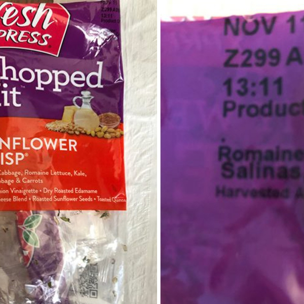 Fresh Express Sunflower Crisp Chopped Salad Kits with this identifying information is being recalled after an outbreak of E. coli infections. (Credit: Centers for Disease Control and Prevention)