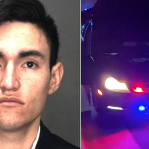 Franklin Lopez Alas, 23, and a Mercedes Benz with illegal police strobe lights that authorities say he was driving in Rancho Cucamonga on Dec. 24, 2019, are seen in photos released by the San Bernardino County Sheriff's Department.
