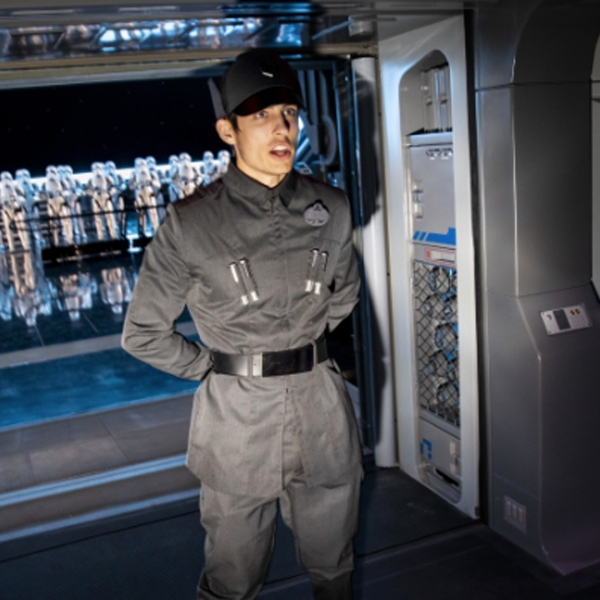 A Disney cast member dressed a member of the First Order lead guests into a hangar bay of a Star Destroyer where 50 Stormtroopers greet riders on Star Wars: Rise of the Resistance at Star Wars: Galaxy's Edge at Disney's Hollywood Studios, in Orlando, Florida. (Credit: Jay L. Clendenin / Los Angeles Times)