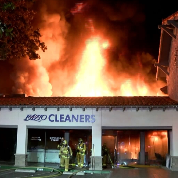A fire burns multiple businesses at a Woodland Hills strip mall on Dec. 20, 2019. (Credit: RMG News)