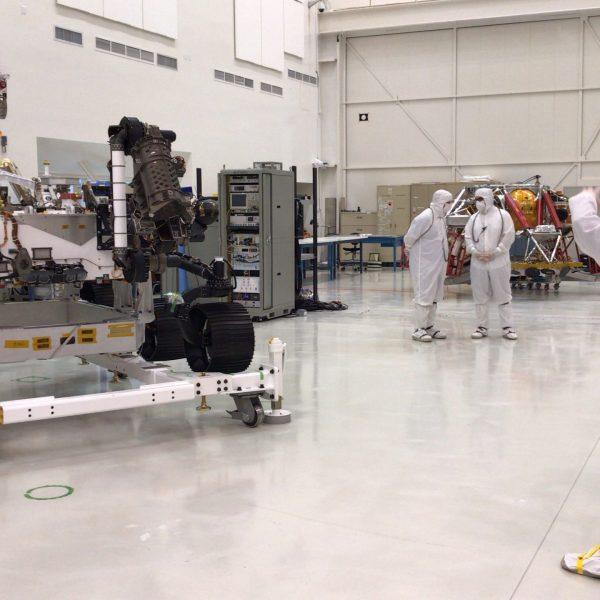 Scientists display the Mars 2020 Rover at NASA's Jet Propulsion Laboratory in Pasadena on Dec. 27, 2019. (Credit: JPL)