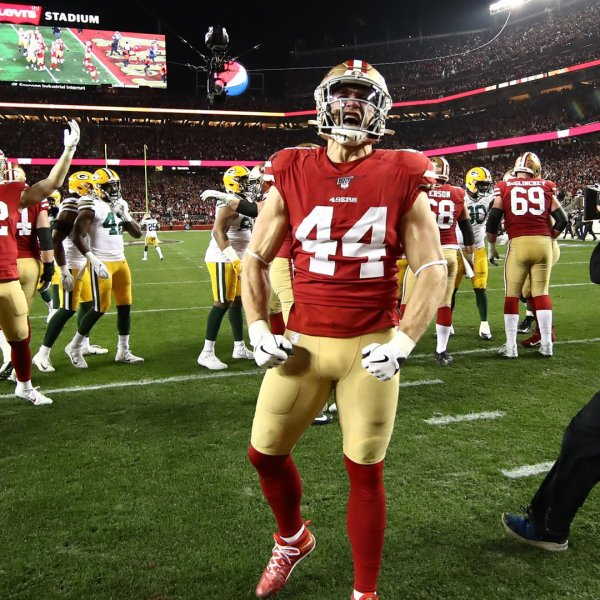 Kyle Juszczyk #44 of the San Francisco 49ers celebrates after winning the NFC Championship game against the Green Bay Packers at Levi's Stadium on January 19, 2020 in Santa Clara, California. The 49ers beat the Packers 37-20. (Credit: Ezra Shaw/Getty Images)