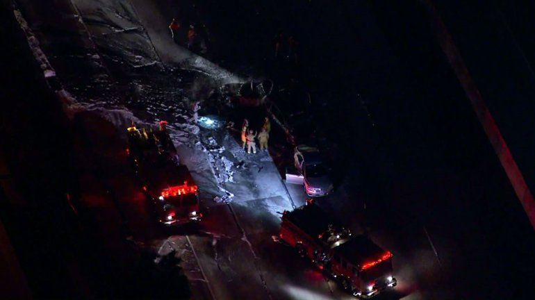 A person was killed in a fiery three-vehicle collision on the 60 Freeway in Industry on Jan. 9, 2020. (Credit: KTLA)