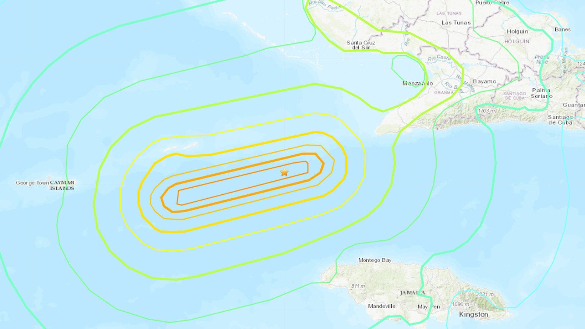 An earthquake strikes in the Caribbean Sea near Cuba and Jamaica on Jan. 28, 2020. (Credit: U.S. Geological Survey)