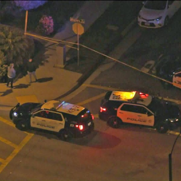 Authorities investigate the scene of a fatal shooting in Alhambra on Jan. 24, 2020. (Credit: KTLA)