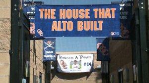 Orange Coast College paid tribute to late coach John Altobelli at the baseball team's season opener in Costa Mesa on Jan. 28, 2020. (Credit: KTLA)