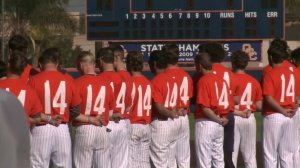 The Pirates baseball team donned No. 14 in honor of their late coach John Altobelli at the Orange Coast College's season opening game in Costa Mesa on Jan. 28, 2020. (Credit: KTLA)