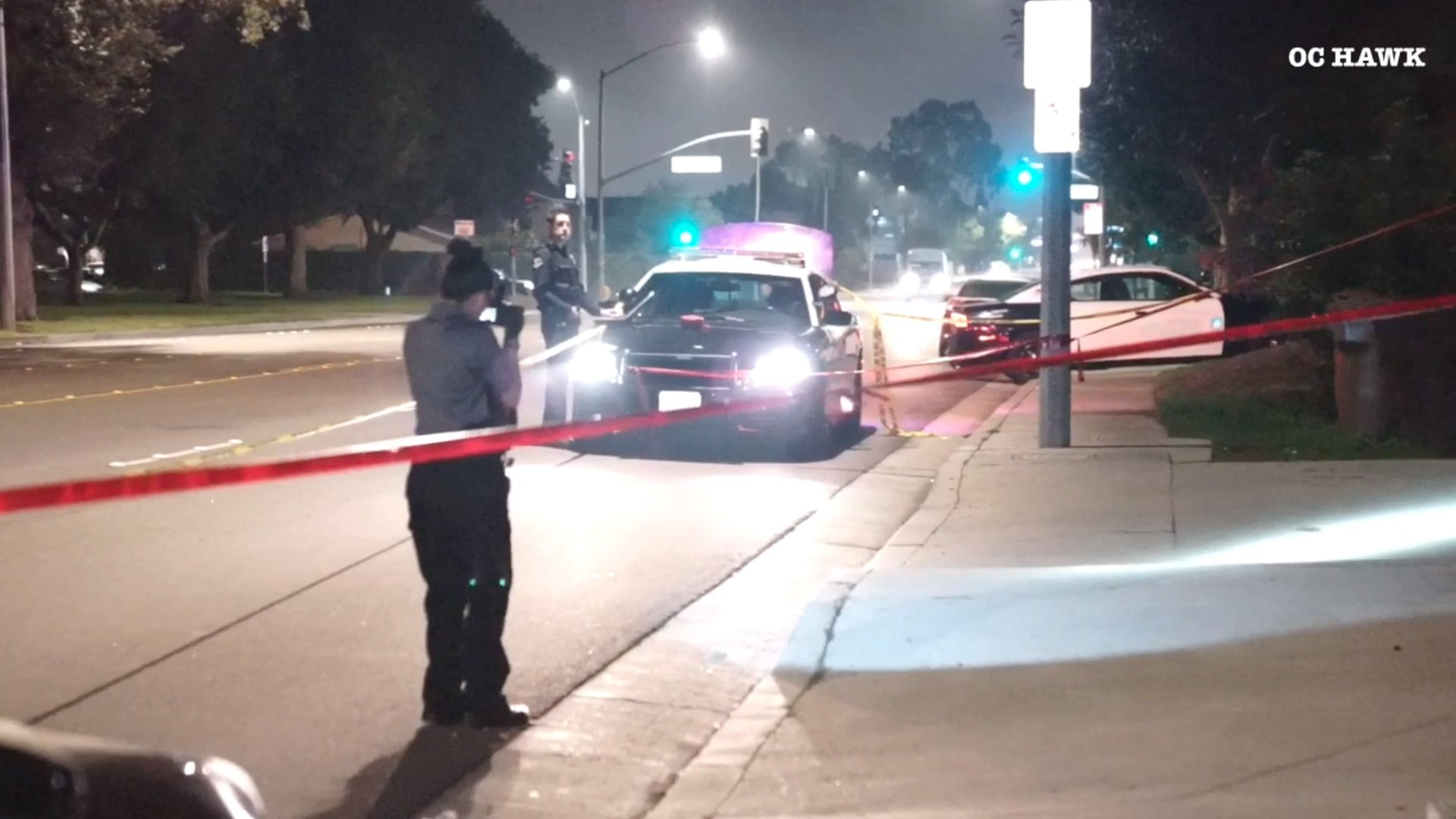 Police investigate a shooting that left a 14-year-old boy wounded in Anaheim on Jan. 25, 2020. (Credit: OC HAWK)