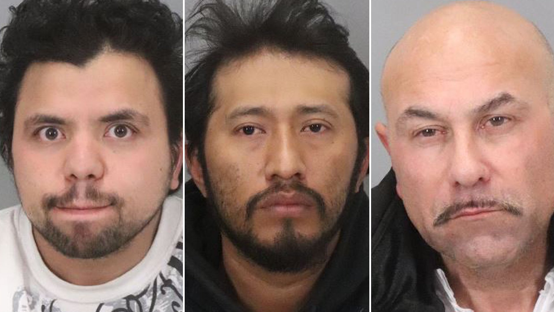 Hediberto Gonzalez Avarenga, Antonio Quirino Salvador and Albert Thomas Vasquez appear in booking photos released by the San Jose Police Department on Jan. 16, 2020.