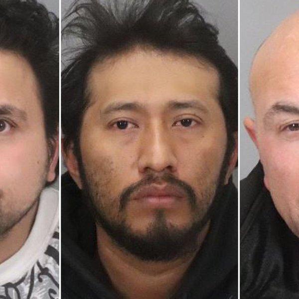 Hediberto Gonzalez Avarenga, Antonio Quirino Salvador and Albert Thomas Vasquez appear in booking photos released by the San Jose Police Department on Jan. 16, 2020.
