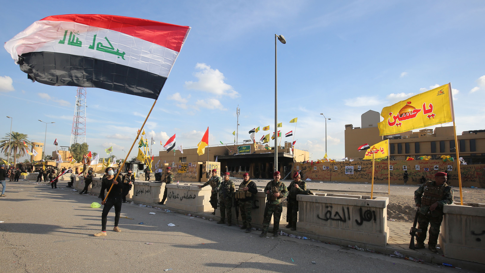 Iraqi security forces are deployed in front of the US embassy in the capital Baghdad, after an order from the Hashed al-Shaabi paramilitary force to supporters to leave the compound on January 1, 2020. (Credit: Ahmad Al-Runaye/AFP/Getty Images)