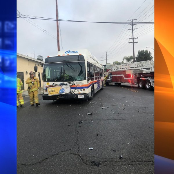 OCTA bus collision with an SUV on Jan. 17, 2020. (Credit: Santa Ana Police Dept.)
