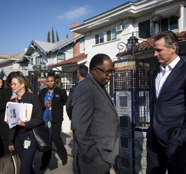 In this undated photo, Los Angeles County Supervisor Mark Ridley-Thomas, left, speaks with California Gov. Gavin Newsom. (Credit: Francine Orr / Los Angeles Times)