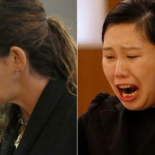 Nicole Herschel, left, appears in a Van Nuys courtroom as she pleaded no contest to vehicular manslaughter in 2017. Yijing Chen, right, appears in court in an undated photo. (Credit: Al Seib / Los Angeles Times)