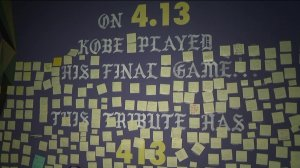 Fans gathered at a mural of Kobe Bryant in Los Angeles on Jan. 26, 2020, and placed notes of mourning and thanks to the late Lakers legend. (Credit: KTLA)