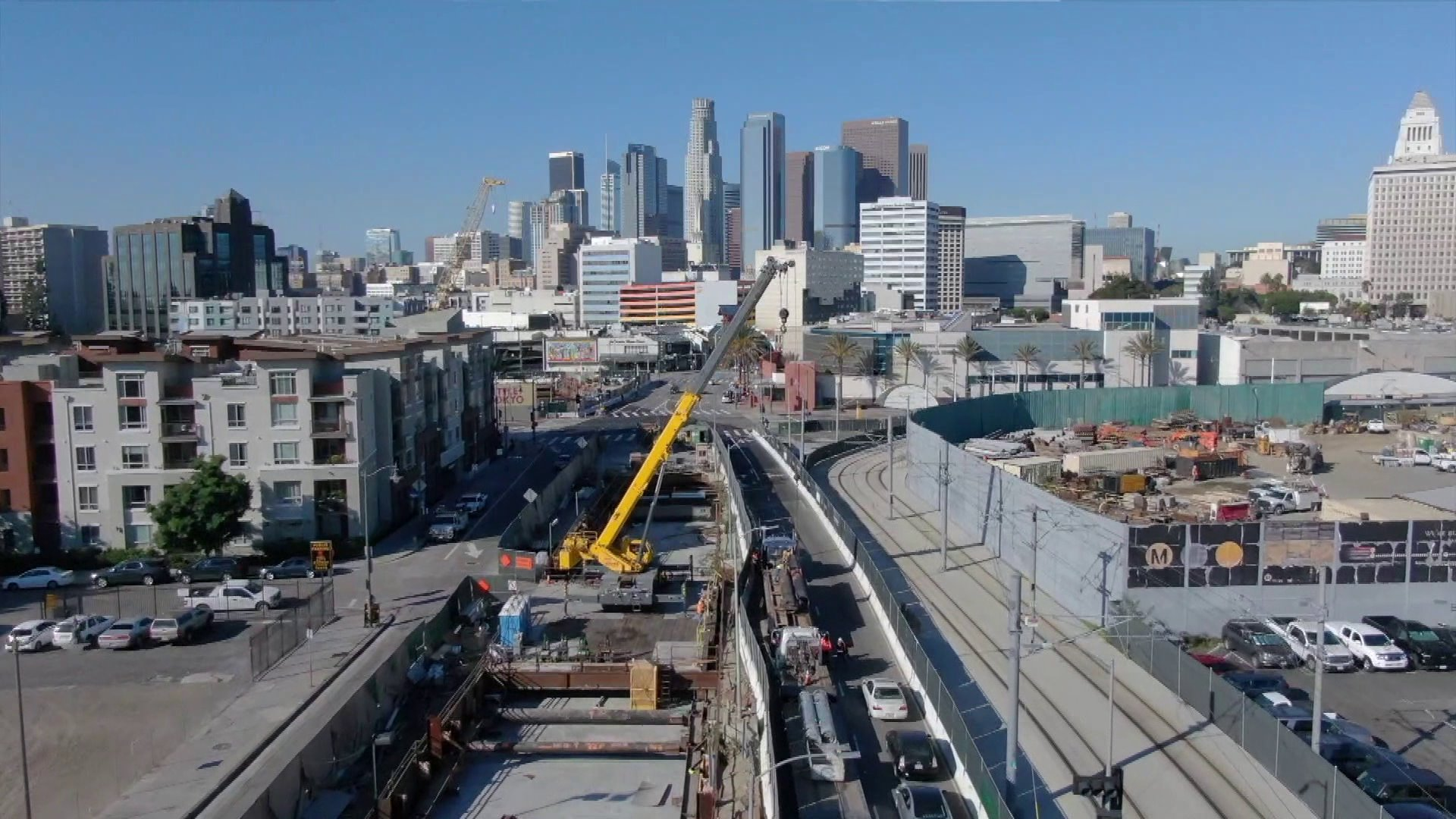 Construction of a new metro station is seen in Little Tokyo. (Credit: KTLA)