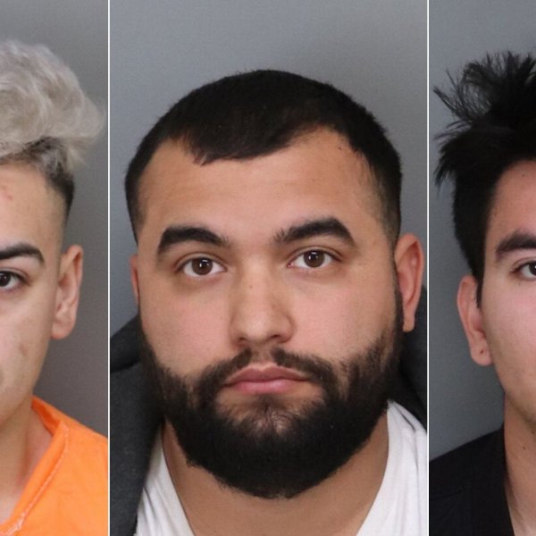 From left: Encino Limon, Eric Trejo and Irving Galvan are seen in booking photos released Jan. 6, 2020, by the Ontario Police Department.