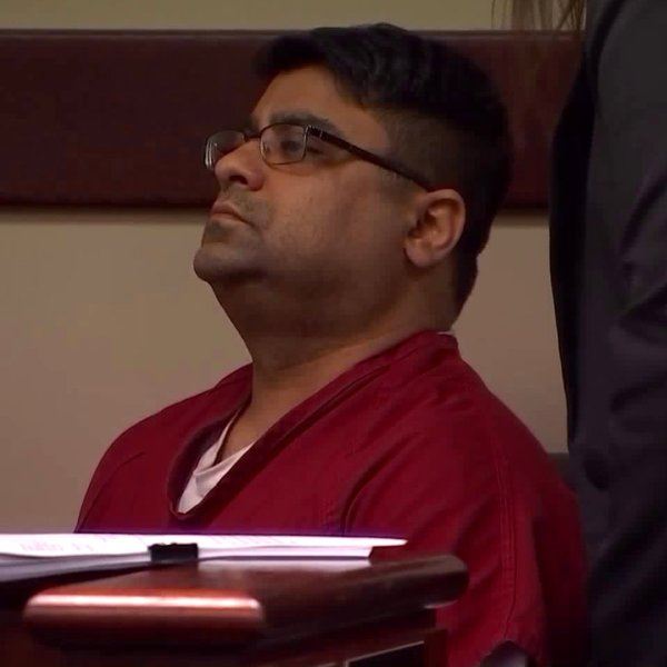 Anurag Chandra appears for his arraignment in a Riverside courtroom on Jan. 23, 2020. (Credit: KTLA)