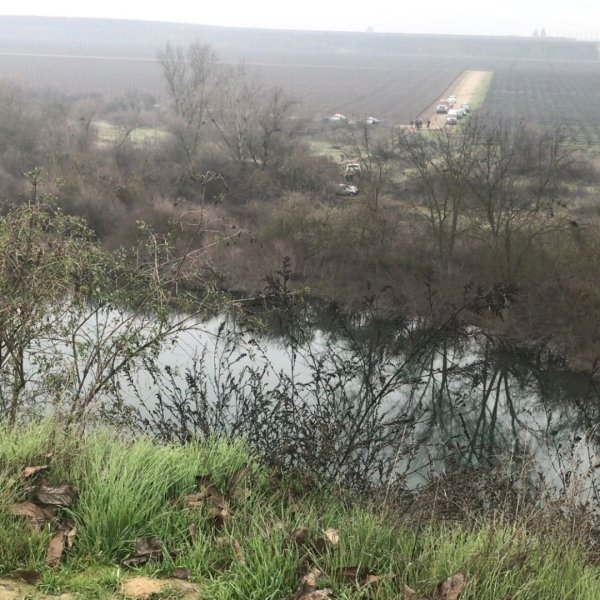 A driver trying to flee police died after going airborne over the San Joaquin River on Jan. 20, 2020. (Credit: KSEE/KGPE)