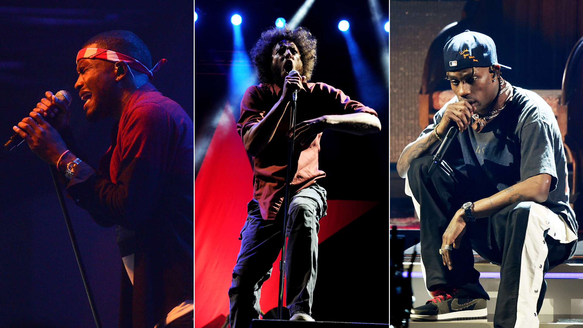 From left: Frank Ocean performs in New York City in 2012, singer Zack de la Rocha of Rage Against the Machine performs at the Los Angeles Memorial Coliseum in 2011 and Travis Scott performs at the Staples Center in February 2019. (Credit: Jason Kempin / Kevin Winter / Getty Images)