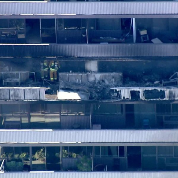 An image from Sky5 shows the damage from a blaze that ripped through Barrington Plaza on Jan. 29, 2020. (Credit: KTLA)