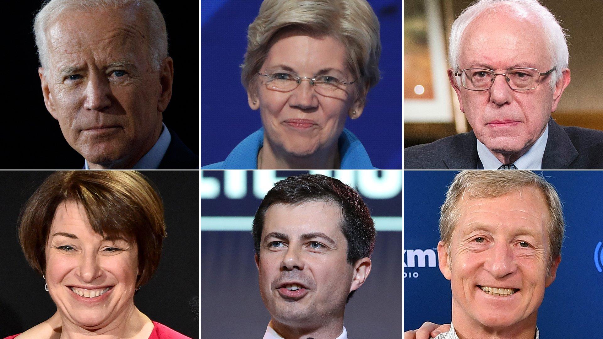 Joe Biden, Elizabeth Warren, Bernie Sanders, Amy Klobuchar, Pete Buttigieg and Tom Steyer, participants at a Democratic presidential debate in Iowa on Jan. 14, 2020, appear in a composite image. (Credit: Getty Images)