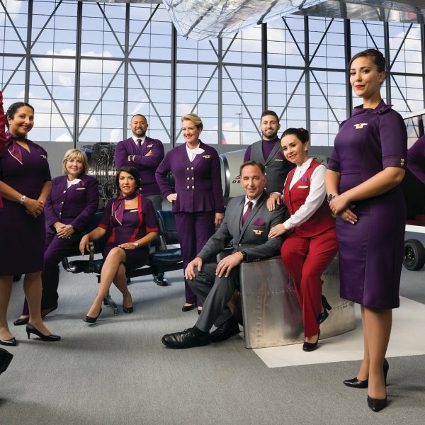 Delta uniforms made by Lands' End are seen in a 2018 publicity image released by the airline.
