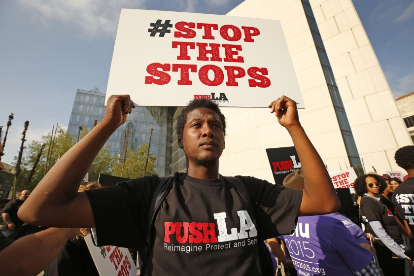 Allen Mitchell Gardner of Community Coalition attends a rally for police reforms outside LAPD headquarters in October 2019. (Credit: Al Seib / Los Angeles Times)