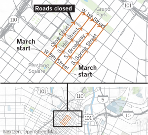 A map shows road closures through 4:30 p.m. on Jan. 18, 2020 for the fourth annual Women's March. (Credit: Los Angeles Times)