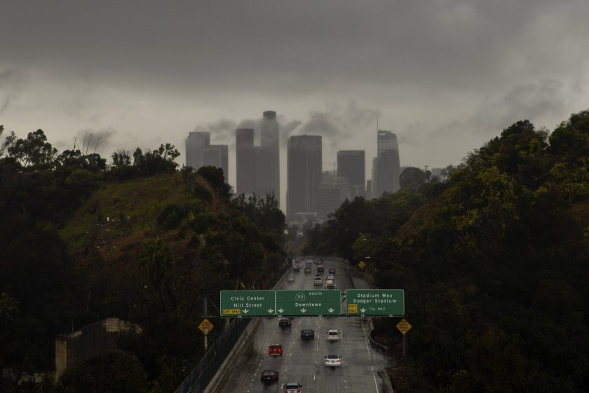 Clouds cover the downtown Los Angeles skyline in this December 2019 file photo. (Credit: Kent Nishimura / Los Angeles Times)
