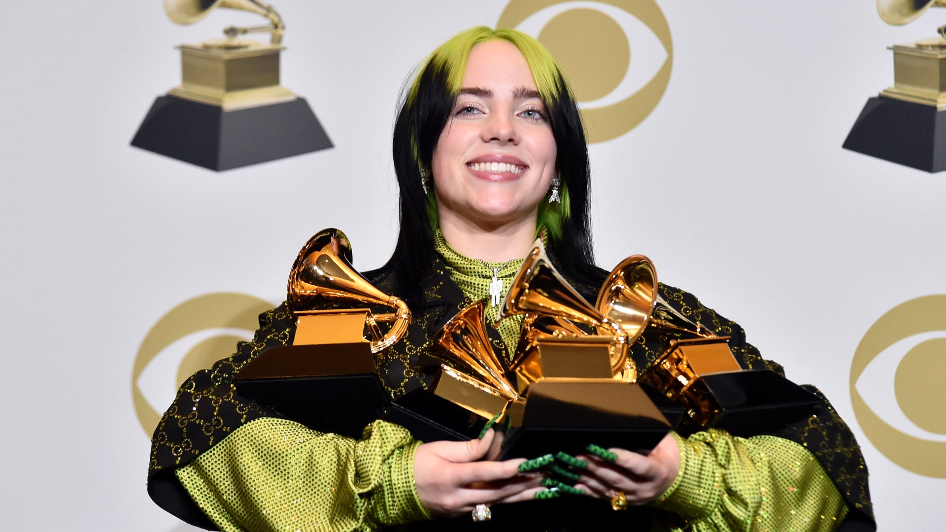 "Billie Eilish, winner of Record of the Year for ""Bad Guy"", Album of the Year for ""when we all fall asleep, where do we go?"", Song of the Year for ""Bad Guy"", Best New Artist and Best Pop Vocal Album for ""when we all fall asleep, where do we go?"", poses in the press room during the 62nd Annual GRAMMY Awards at STAPLES Center on January 26, 2020 in Los Angeles, California. (Credit: Alberto E. Rodriguez/Getty Images/The Recording Academy)"