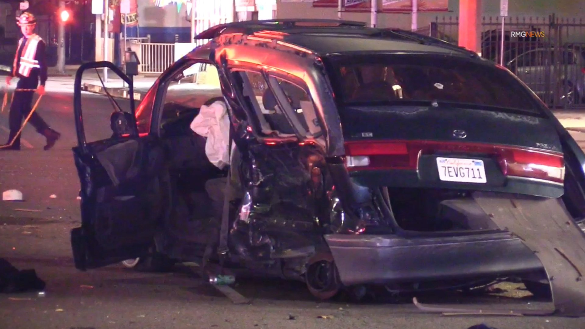 Two people, including a 12-year-old boy, were hurt in a hit-and-run collision in El Monte on Jan. 18, 2020. (Credit: RMG News)