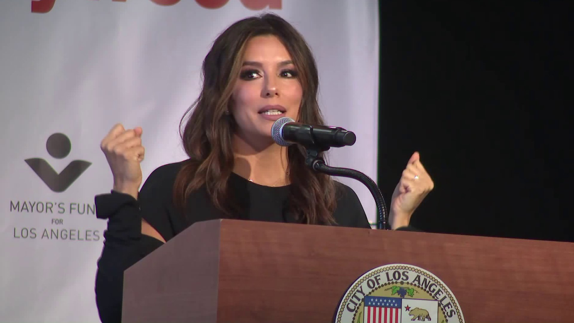 Eva Longoria joined L.A. Mayor Eric Garcetti to unveil LA Collab, an initiative to double Latino representation in Hollywood on Jan. 13, 2020. (Credit: KTLA)