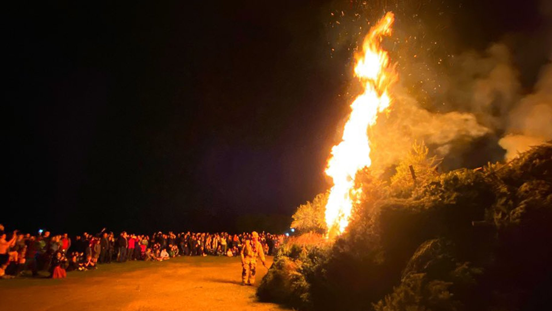 Firefighters set a pile of Christmas trees ablaze at the conclusion of the Julefest Celebration in Solvang on Jan. 3, 2019. (Credit: Santa Barbara County Fire Department)