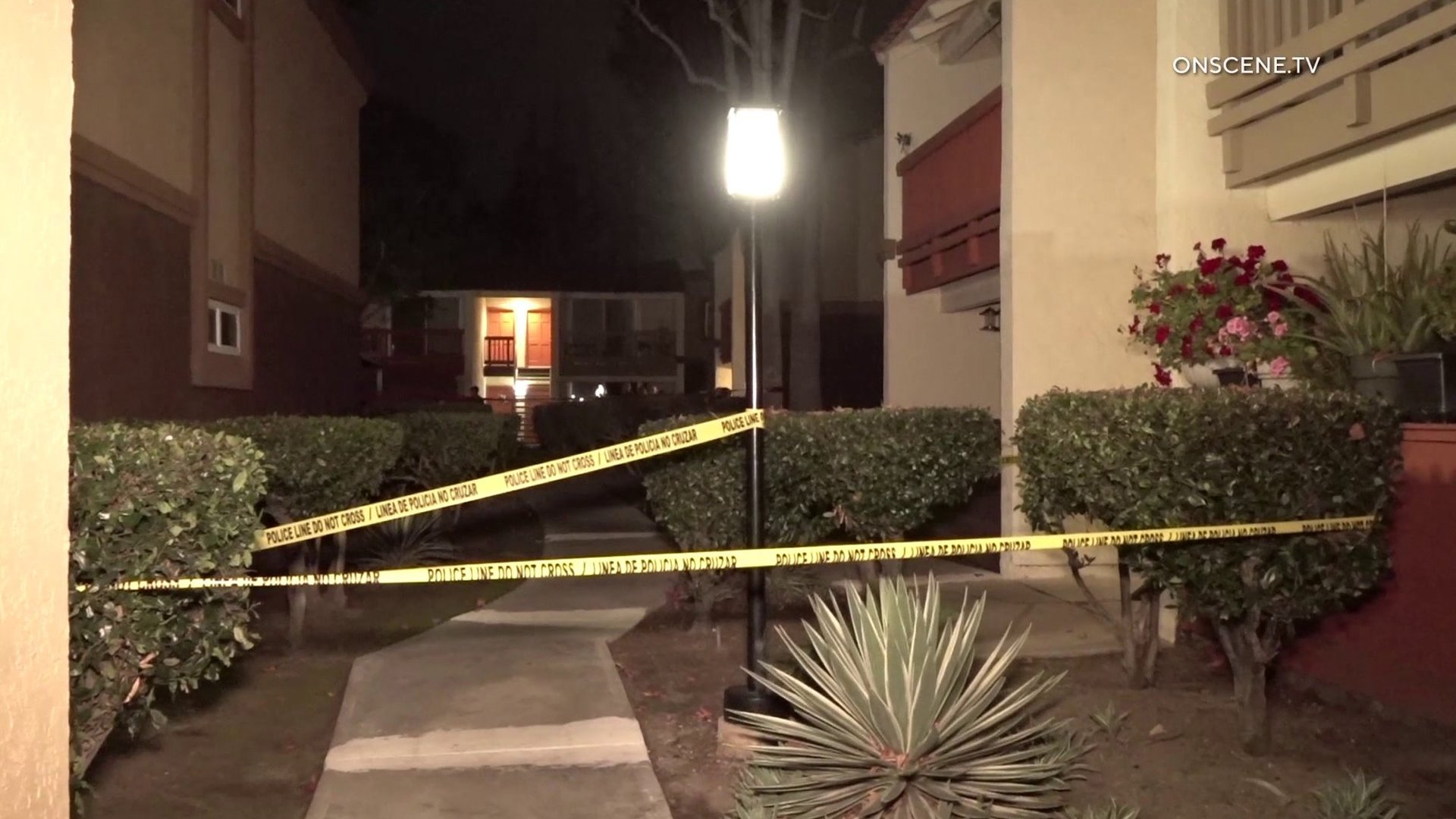 An investigation was underway at a Fountain Valley apartment complex after an allegedly armed man was fatally shot by Santa Ana police on Jan. 21, 2020. (Credit: OnScene.TV)