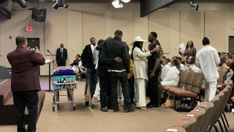 "Mourners attend the funeral for 6-year-old Dayvon ""DayDay"" Taylor of South Los Angeles at a church in Inglewood on Jan. 11, 2020. (Credit: KTLA)"