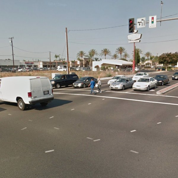 The intersection of Westminster Avenue and Brookhurst Street in Garden Grove is shown in a Street View image from Google Maps.