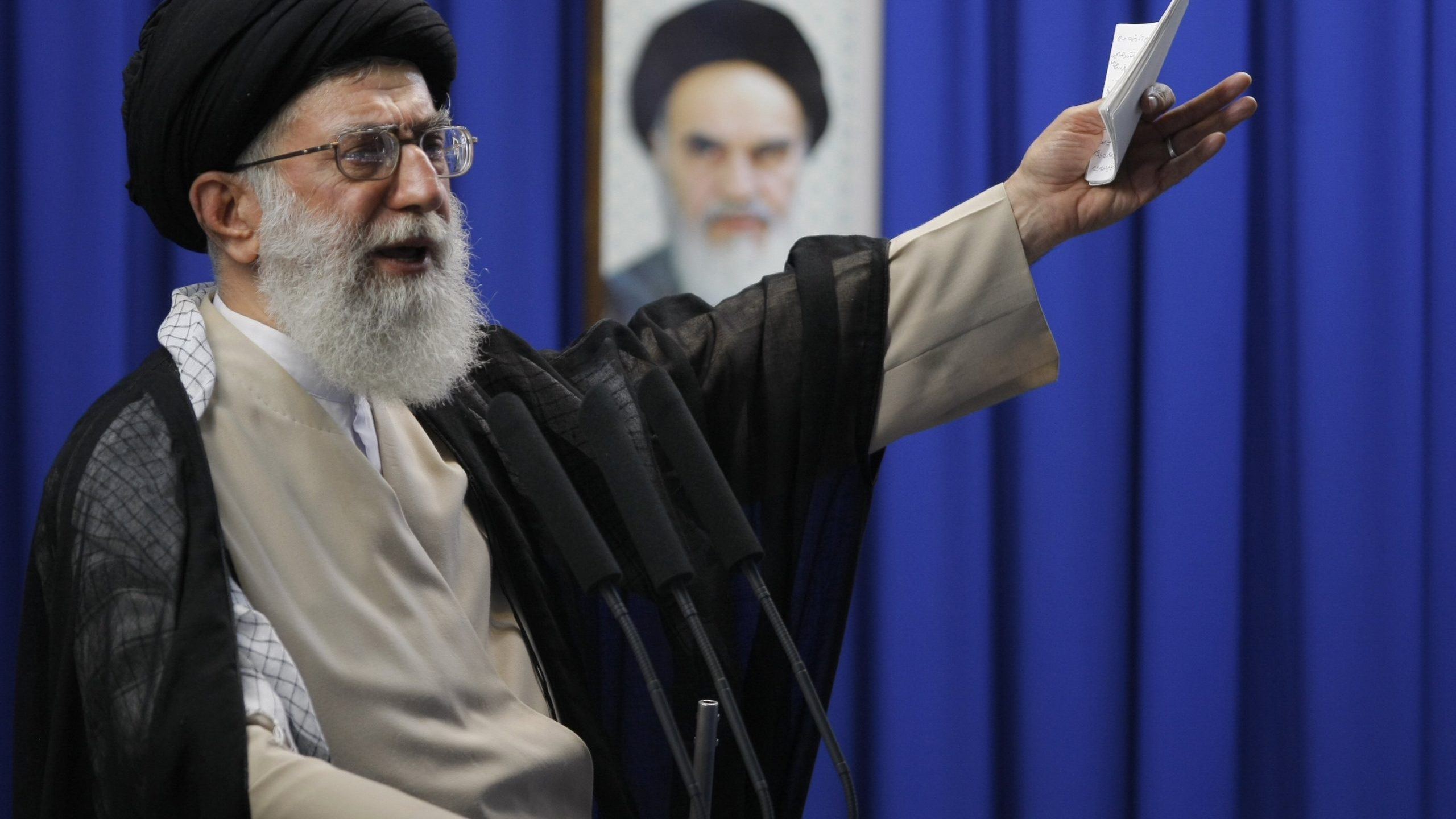 Iran's supreme leader Ayatollah Ali Khamenei delivers the weekly Friday prayer sermonn at Tehran University on June 19, 2009. (Credit: BEHROUZ MEHRI/AFP via Getty Images)