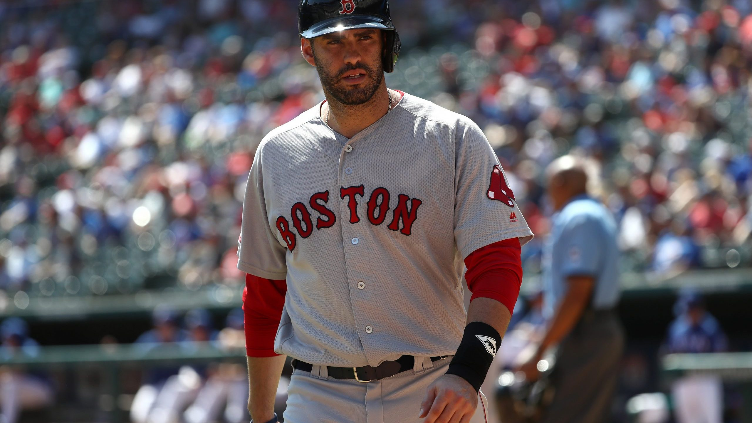 J.D. Martinez of the Boston Red Sox at Globe Life Park in Arlington on Sept. 26, 2019 in Arlington, Texas. (Credit: Ronald Martinez/Getty Images)