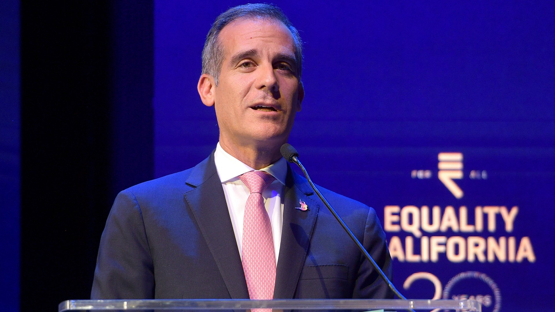 Eric Garcetti speaks onstage during Equality California's Special 20th Anniversary Los Angeles Equality Awards on Sept. 28, 2019. (Credit: Matt Winkelmeyer/Getty Images for Equality California)