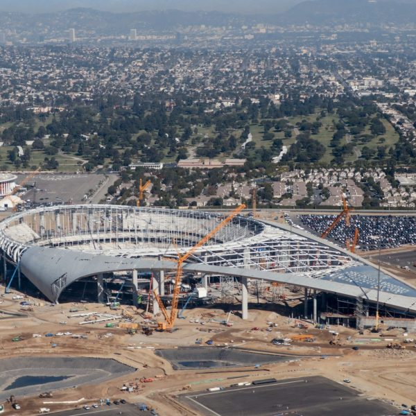 Construction at the SoFi Stadium in Inglewood, the future home of the Rams and Chargers, is seen in an aerial view on Oct. 23, 2019. (Daniel Slim / AFP / Getty Images)